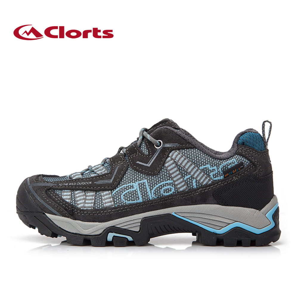 2018 Clorts femmes chaussures de randonnée imperméables chaussures de plein air en daim cuir femme chaussures de Trekking pour les femmes couleur bleue