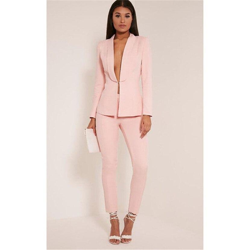 38f363d3ea3 Куртка + брюки розовые штаны костюмы для Женский деловой костюм женские  брюки женские костюмы работы Блейзер