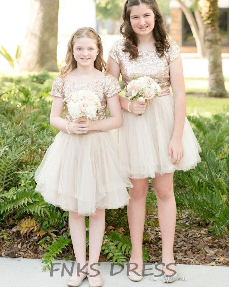 Pretty Champagne Sequin Top Tulle Skirt Flower Girl
