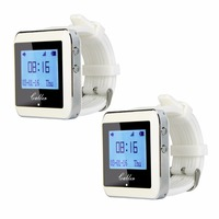 2pcs TIVDIO 433MHz 999 Channel Watch Pager Call Receiver Waiter Call Pager Wireless Calling System Restaurant