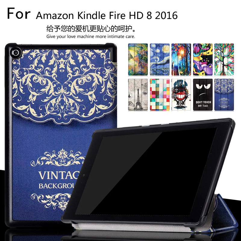 Unique design Color Painted Magnetic Smart Cover For Amazon Kindle New Fire HD 8 HD8 2016 8.0 inch tablet Leather Case rotatable 360 degree rotation case for amazon new kindle fire hd 8 hd8 2016 smart cover sleep wake tablet stand leather funda