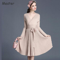 European Style Women Sexy Deep V Neck Knit Dress Long Sleeve Slim Waist Pleated Dress Spring