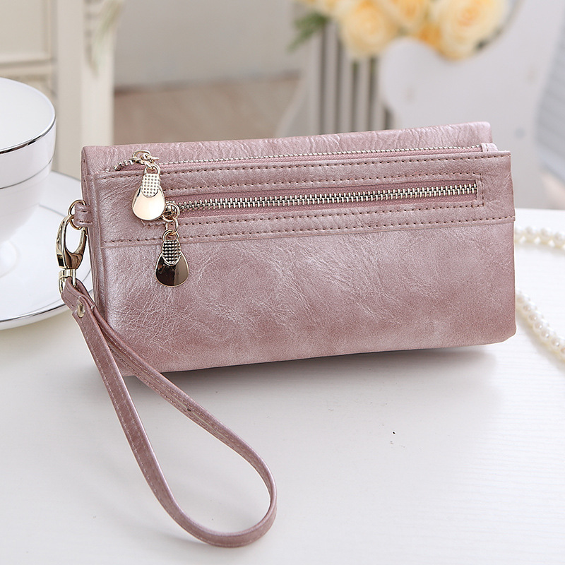 Hot Sale High Capacity Fashion Women Wallets Long PU Leather Wallet Female Double Zipper Clutch Coin Purse Ladies Wristlet