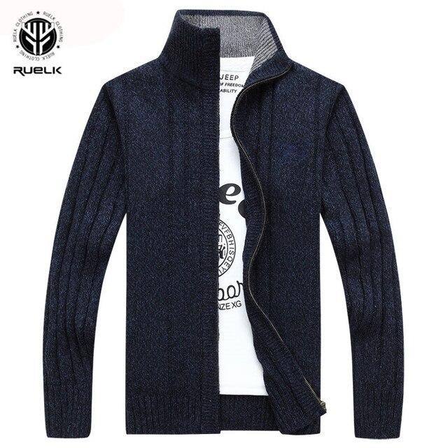 RUELK 2018 свитер для мужчин осень зима шерсть толстый мужской кардиган мода 2018 г. брендовая одежда верхняя вязание мужской джемпер M-