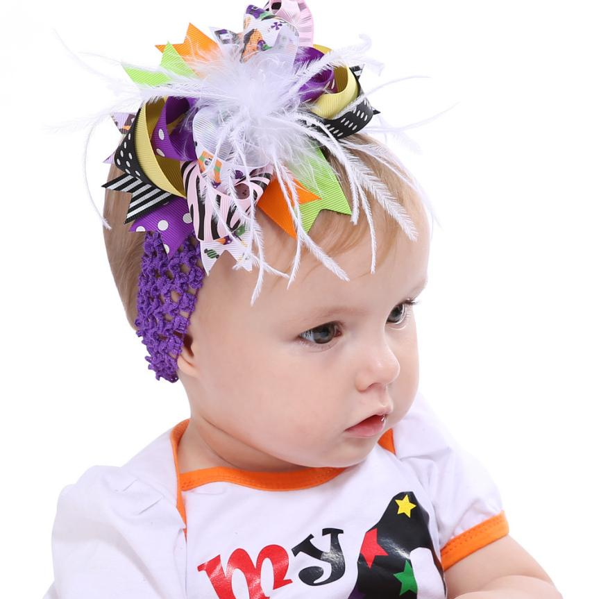 2017 Fashion cute Halloween Toddler Baby Kids Girls Feather Bowknot Hairpin Headdress 4 colors headwear for infant gift #81HL