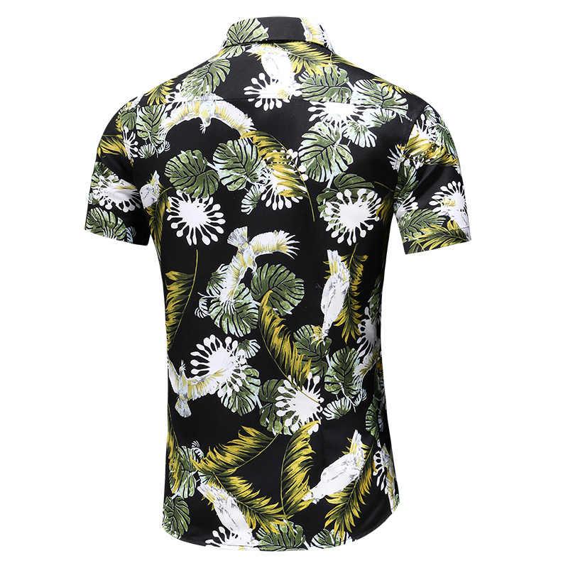 ファッション男性半袖シャツ夏の快適な通気性メンズカジュアルシャツ大サイズ 7XL 花ビーチシャツ男性
