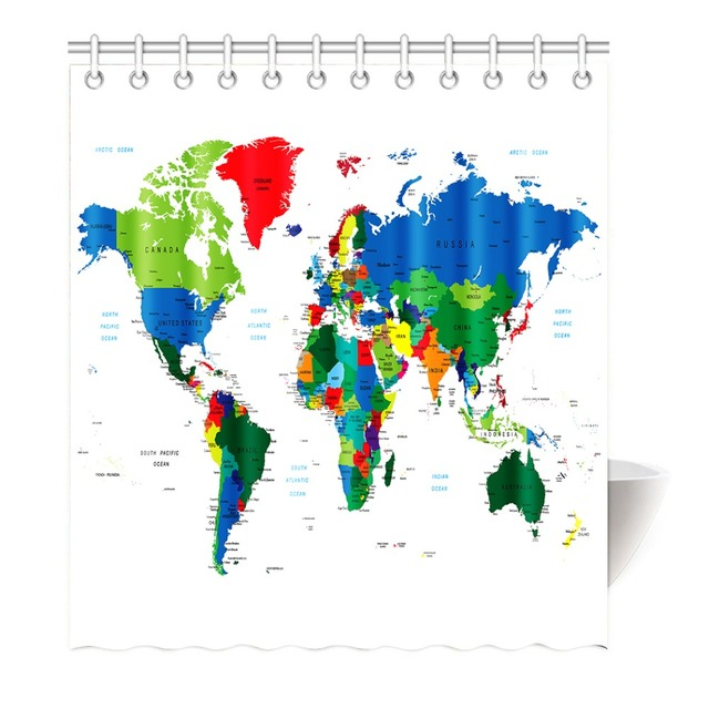World Map Shower Curtain Chevron Anchor Polyester Fabric Bathroom Set Decor With Hooks