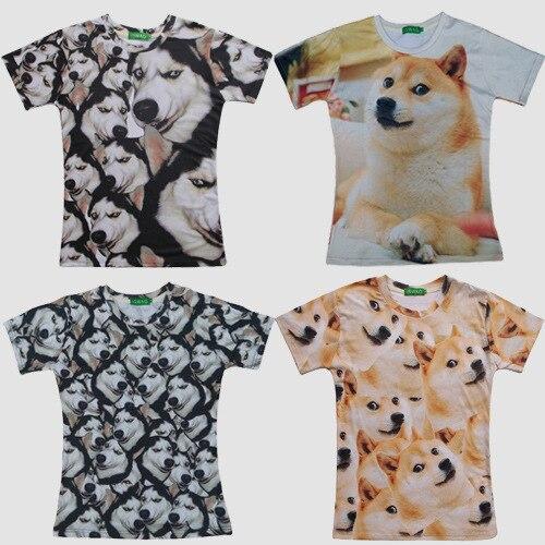 2015 summer style tshirt casual clothing short sleeve camiseta 3d t shirt animal husky Akita dog printed T-shirts swag clothes