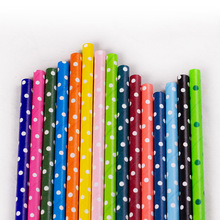 25Pcs Colorful Dots Environmental Party Cocktail  Creative Paper Straw For Cake Decoration Disposable Degradable Pipette