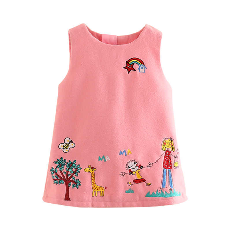 Mudkingdom Girls Autumn Faux Wool Dress Kids Cartoon Embroidery O-neck Sleeveless Thermal Dresses Children Clothing