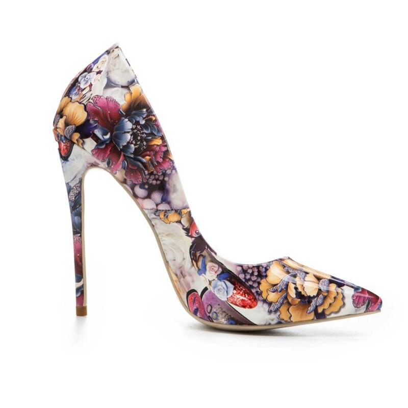 Femmes Fleur Mince 10cm Sur Peu Priinting Casual Haute Super 8cm 12cm Bout Mode Sexy Pompes Taille Talons Grande Pointu Chaussures Slip Lady Silettos Profonde 0B0vrpxn