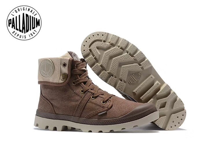 on feet shots of 100% high quality brand new US $54.56 12% OFF|PALLADIUM Pallabrouse Dark Brown Sneakers Men High top  Army Military Ankle boots Canvas Casual Shoes Man Anti Slip Shoes 39 45-in  ...