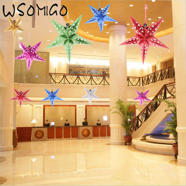 6pcs 30cm Colorful Laser Five Pointed Star Ceiling Ornaments Wedding Decoration Diy Party Bar Supplies S