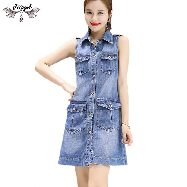 Vestidos verano 2018 Spring Summer Dress sleeveless Large size Casual Denim  Dresses Women Loose A Line Mini Dress Blue Jeans 612 8926ab0b0
