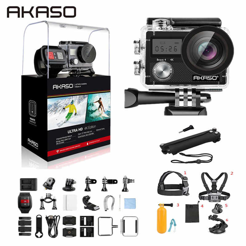 Akaso Berani 4 Kamera Aksi 4 K/24fps Ultra HD 20MP Wifi Anti-goyang 30 M Tahan Air remote Control Helm Sport Cam