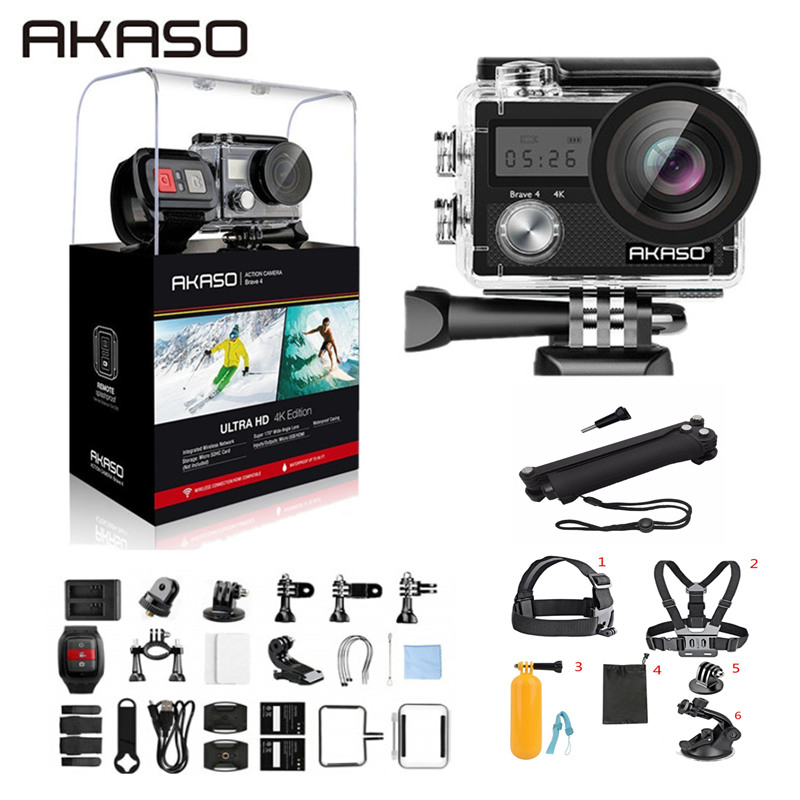 AKASO Brave 4 Action caméra 4 K/24fps Ultra HD 20MP Wifi anti-secousse 30m sous-marine étanche télécommande casque Sport cam