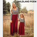 2016 autumn spring family matching clothes cotton stripe maxi Mother daughter dress clothes Family Matching Outfits family look