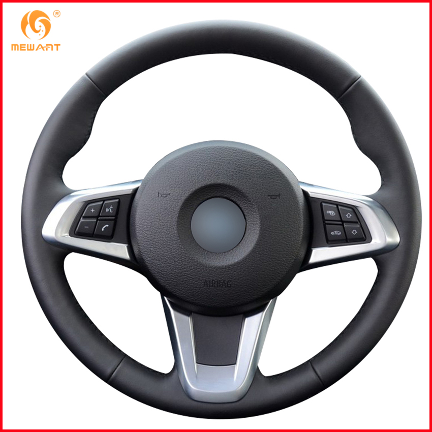 Mewant Black Genuine Leather Car Steering Wheel Cover For