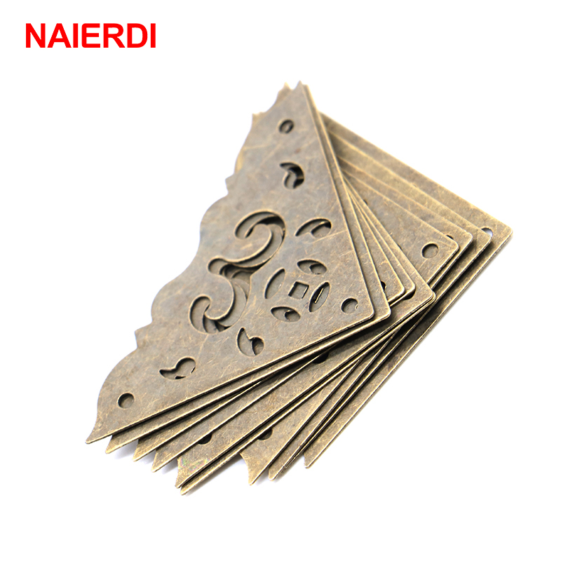 10PCS NAIERDI Jewelry Box Book Scrapbook Bronze Corner Bracket Frame Accessories Notebook Menu Corner Decorative Protector 10pcs naierdi 30mmx30mm jewelry box book scrapbook album antique frame accessories notebook menus corner decorative protector