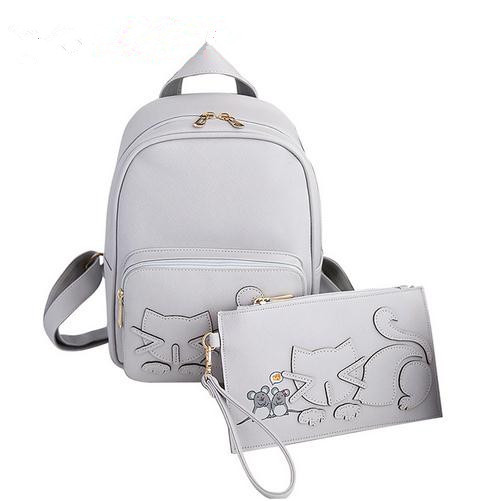 2018 New Designer Women Backpack For Teens Girls Preppy Style Cat School  Bag PU Leather Backpack Ladies Backpack With Purse c15394f6f87c1