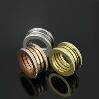 Claccic fine jewelry Titanium Steel full CZ spring Rings For Women and Man wedding bulgaria ring top quality