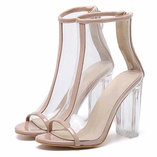 MoBeiNi Sexy Kim Kardashian Sandal Women Style PVC Clear Transparent  High Heel Sandals Plus Size Stilettos Women Shoes Bare