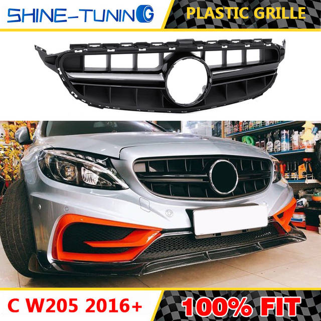 US $71 25 5% OFF|Front grille Suitable for mercedes New C Class W205 amg  grille C180 C200 C250 C300 2016 2018 without emblem-in Racing Grills from