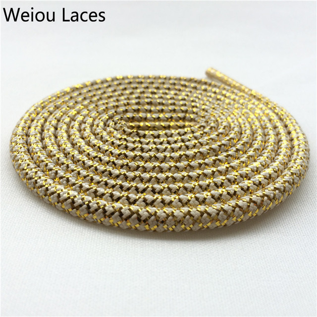 Weiou Black Gold Rope Laces~Sneaker Shoe Laces~Metallic Yarn Polyester  Hiking Boot 01a05a133
