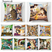 Fuwatacchi 3D Cute Animal Print Throw Pillow Covers Polyester Cat Dog Bird Sofa Living Room Home Decor Accessories Case