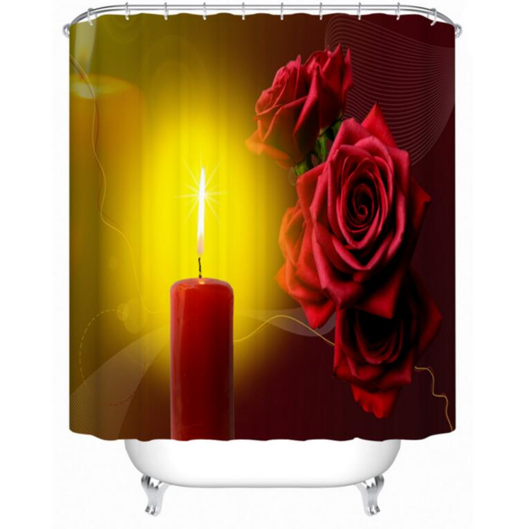 Printed Candle Flower 3d Bathroom Fabric Shower Room Door Curtains Waterproof Durable Bath Kitchen Curtains With