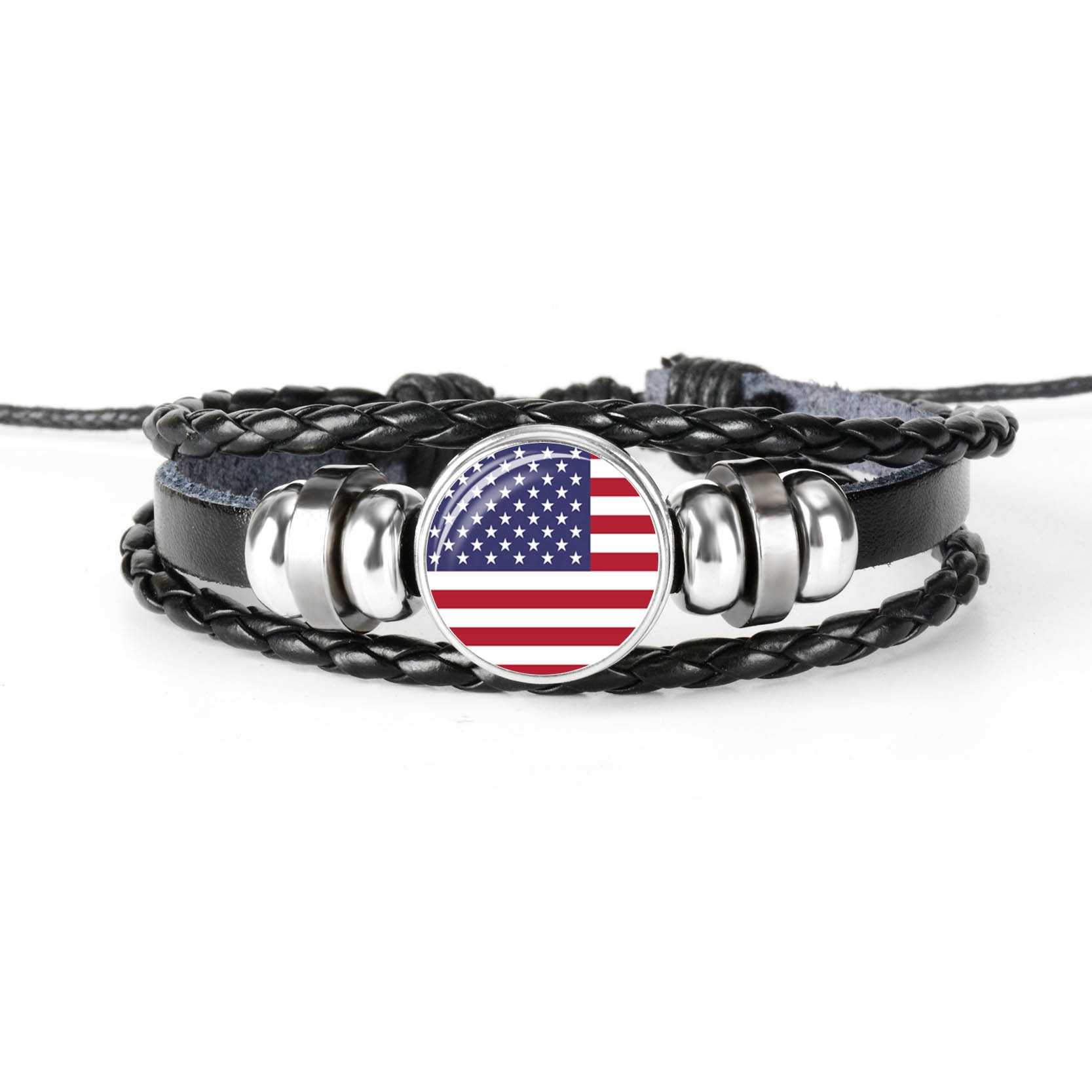 America Haiti Mexico National Flag Men's Leather Bracelet Glass Cabochon Charm Multilayer Braided Women