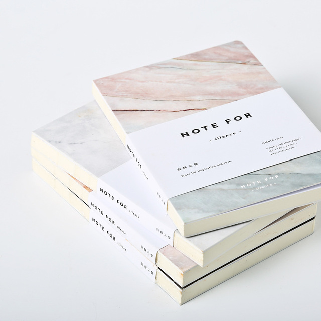 Japanese Cute Stationery Note for Silence 80 Pages Marble Designs A5 Empty Pages Notebook Journal DIY Personal Diary Note Book