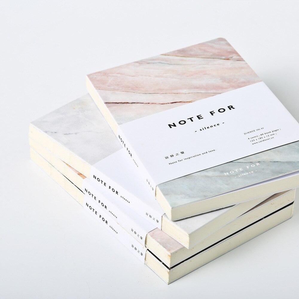 Japanische Niedliche Briefpapier Hinweis für Stille 80 Seiten Marmor Designs A5 Leere Seiten Notebook Journal DIY Persönliche Tagebuch Notizbuch