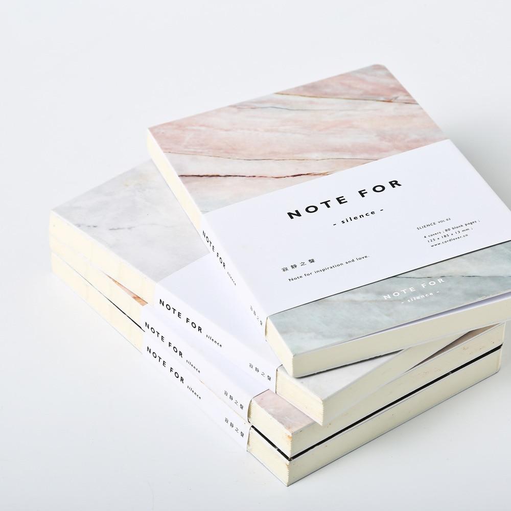Japonés Lindo Papelería Nota de Silencio 80 Páginas De Mármol Diseños A5 Páginas en blanco del Cuaderno Diario Cuaderno diario Personal de BRICOLAJE