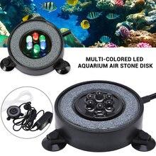купить Aquarium Air Stone Disk  Aquarium Air Bubble Light Color Changing LED Light Round Fish Tank Bubbler with Auto Color Changing D35 дешево