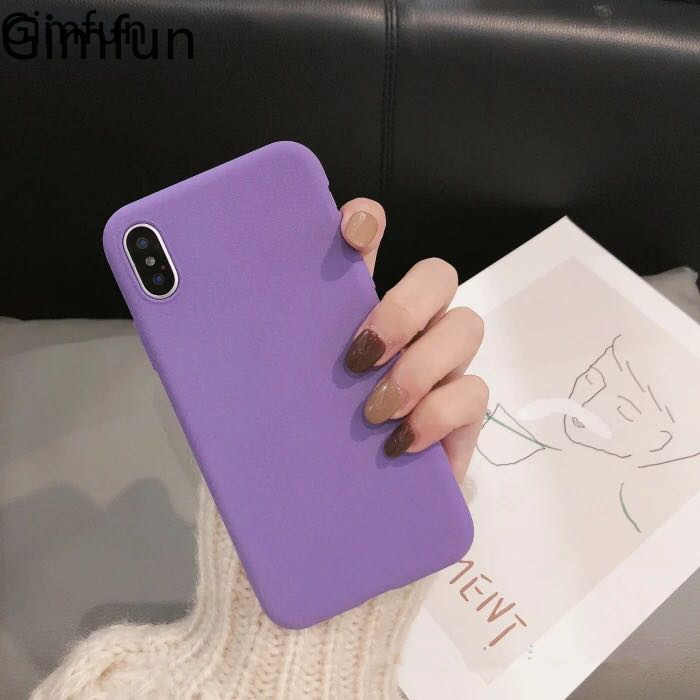 Gimfun Matte paars solid Soft Tpu Case voor IPhone 6 6s 7 8 Plus Xs XR Max Eenvoudige Siliconen case shell Cover