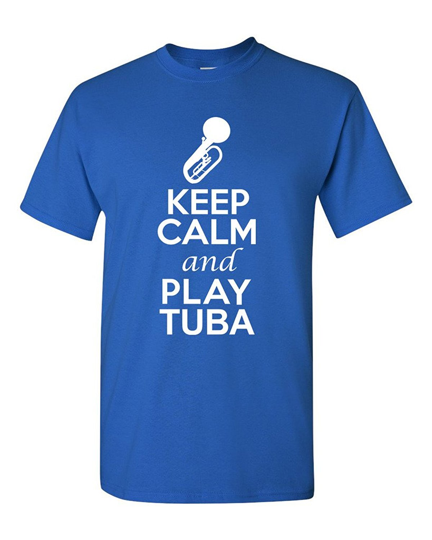 Shirt design printer - T Shirt Design Printer Short City Shirts Keep Calm And Play Tuba Music Lover Men Printing O Neck Shirt