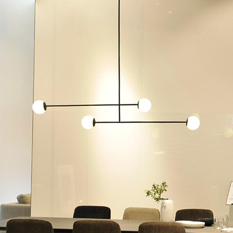 Pays de fer pendentif lumière moderne Du Nord Europe créative blanc laiteux abat-jour en verre restaurant pêche branches pendentif lampe