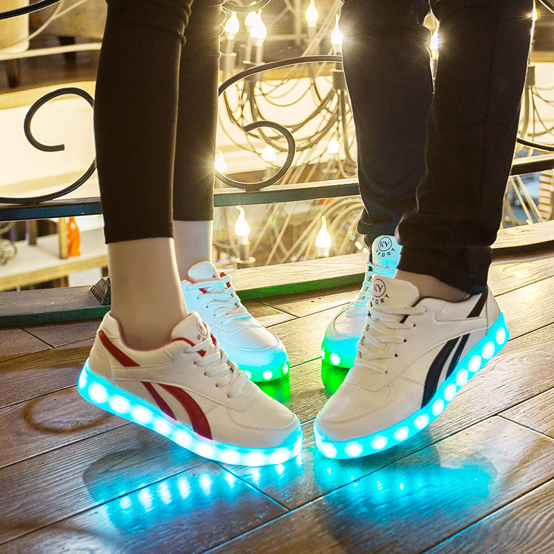 US $12.23 15% OFF|New 7 Colors USB Charging Led luminous Shoes Adults LED Lighting Shoes Casual Kids Glowing Men Women Sneakers Size 35 45 in Sneakers