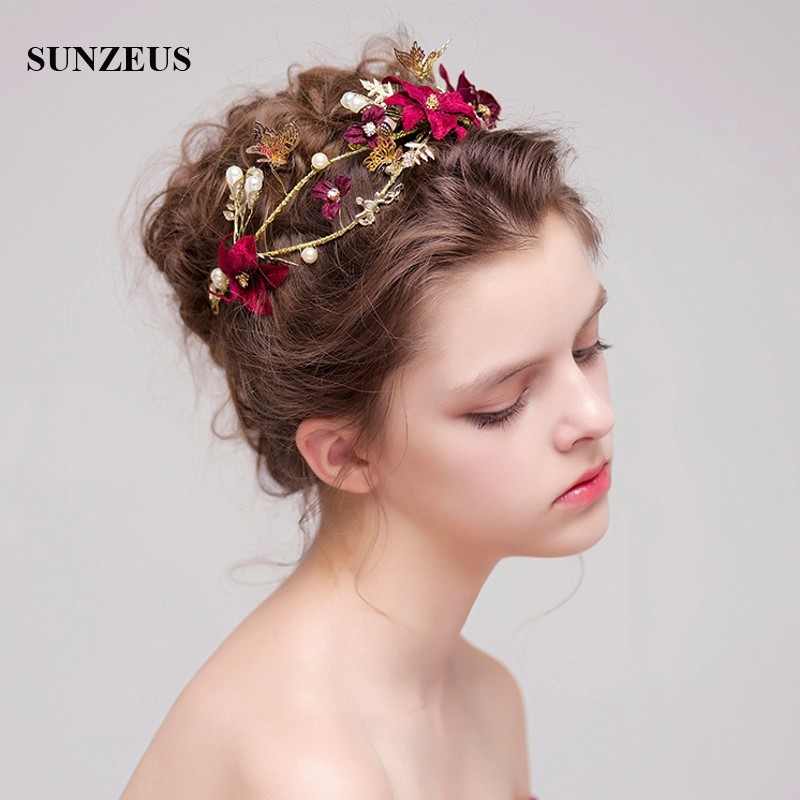 Wedding Hairstyles With Headpiece: Bridal Headband 2018 Korean Style Gold Crown Butterfly