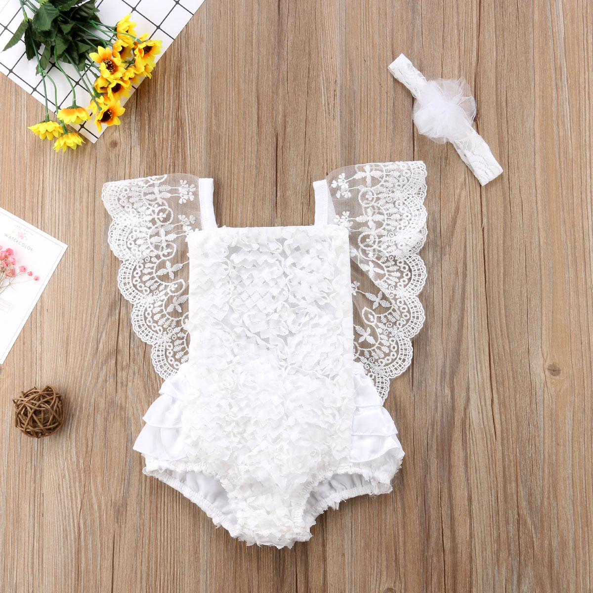 Newborn Kids Baby Lace Ruffle Backless Bodysuit Jumpsuit Headband Outfits Floral Clothes 0-24M