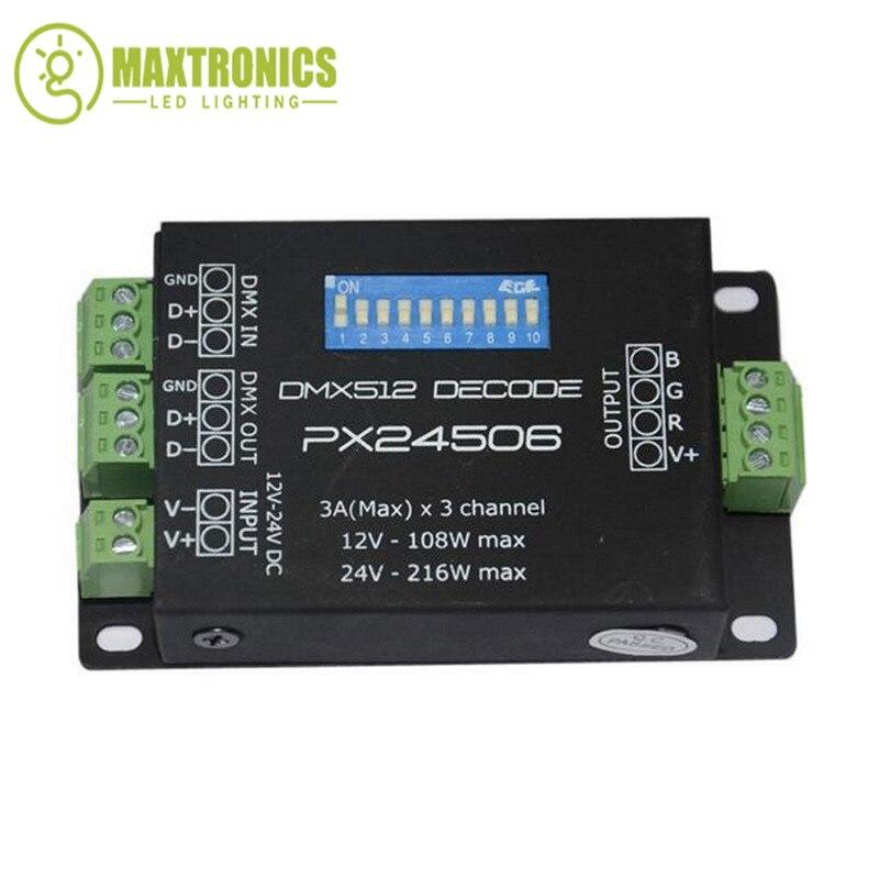PX24506 led controller led decoder DMX 512 Decoder Driver 9A DMX 512 Amplifier 12V 24V RGB LED strip Lights 216w px24506 dmx512 led decoder black 12 24v