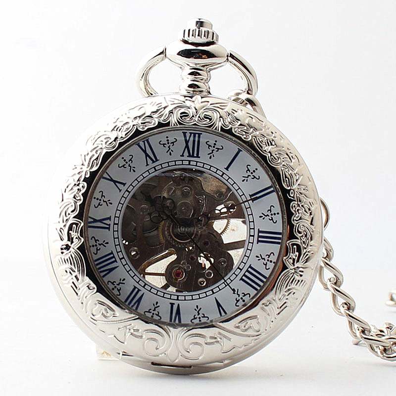 5pcs Fashion Silver Glass Cover Mechanical Hand Wind Pocket Watch Pendant Fob Chain Watches Men Women