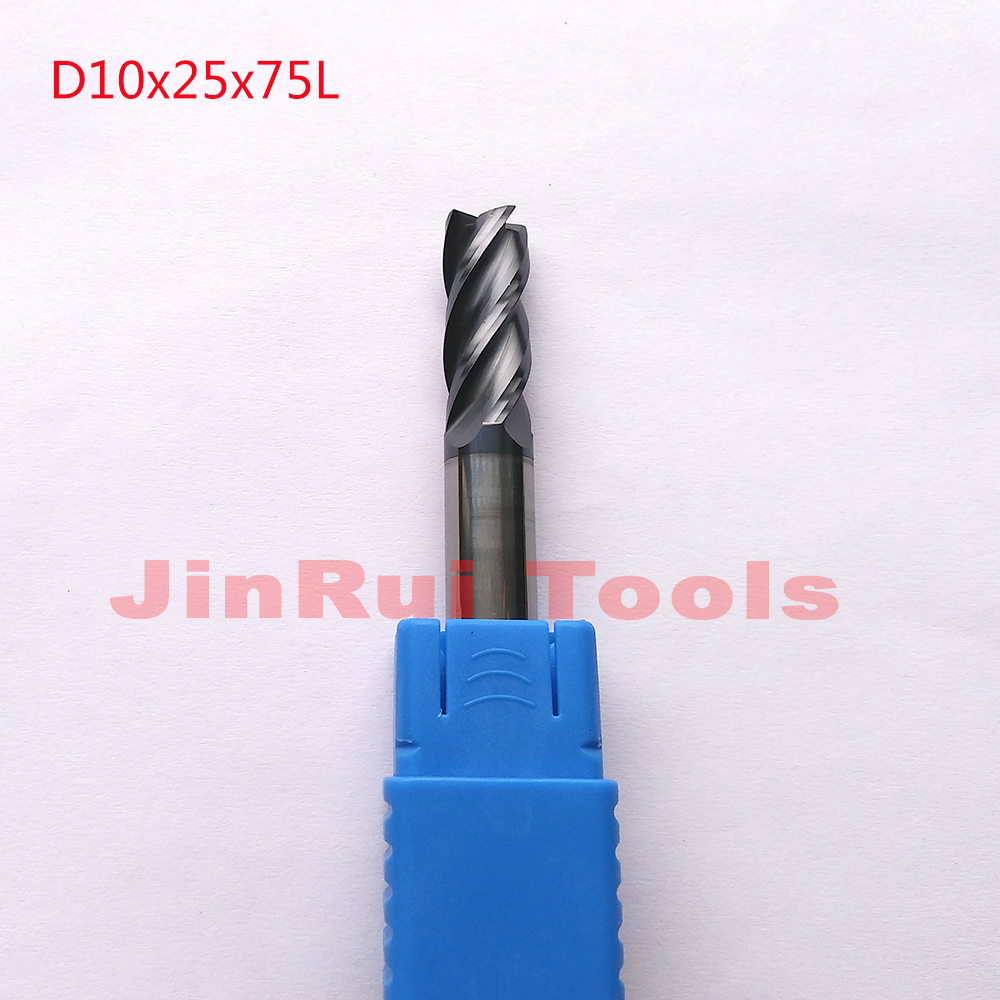 1pc  D10*25*75  HRC55  4 Flutes Flat Square  Solide Carbide End Mills CNC router bit milling cutter Tools knife fresa 1pc d3 8 50 hrc60 2 flutes flat square solide carbide end mills cnc router bit milling cutter knife