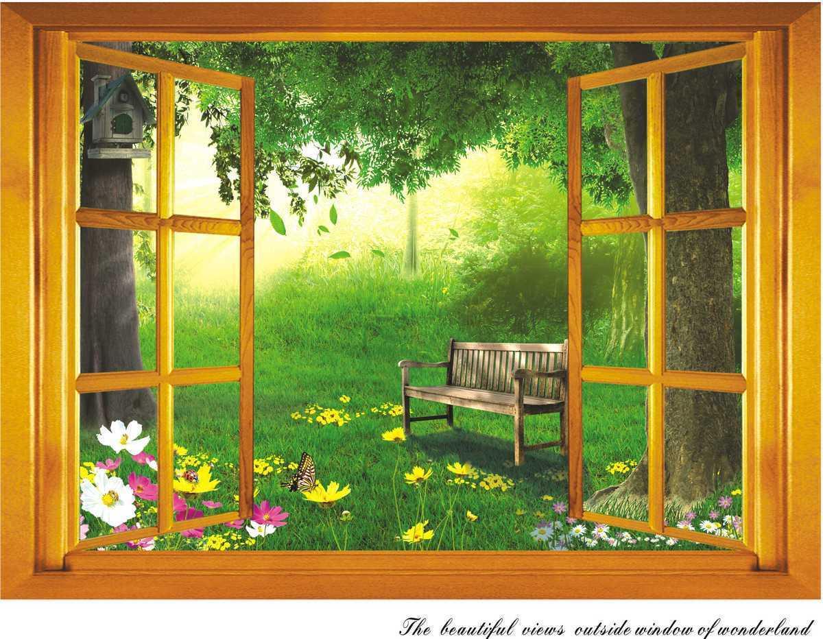 d hermosas vistas al jardn exterior de dibujos animados etiqueta de la ventana etiqueta de la