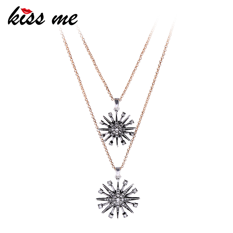 KISS ME Charming Crystal Star Snowflake Pendant Necklace 2018 Popular Alloy Chain Layered Necklace Brand Jewelry chain