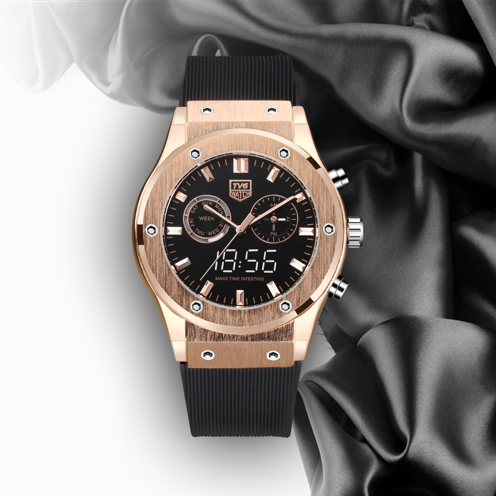 Luxury Watch TVG Waterproof Dual-Screen Watch Noble Rose Gold Color Matching Silicone Strap
