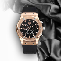 Luxury Watch TVG Waterproof Dual Screen Watch Noble Rose Gold Color Matching Silicone Strap