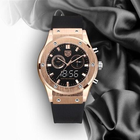 Relógio de Luxo Relógio de Tela Pulseira de Silicone Impermeável Dupla Nobre Rosa Ouro Cor Correspondência Tvg