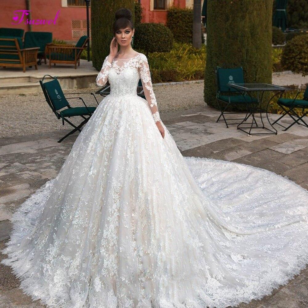 Glamorous Appliques Royal Train Lace A Line Wedding Dress 2019 Fashion Scoop Neck Long Sleeve Beaded